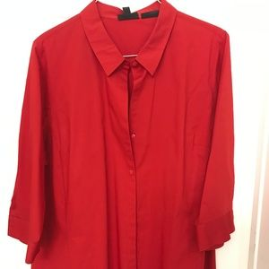 Red Mid Sleeve Button-Front Shirt
